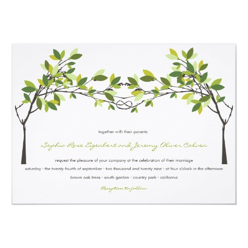 Summer Green Knotted Love Trees Wedding Invitation