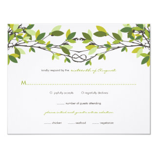 Summer Green Knotted Love Trees Wedding RSVP Card