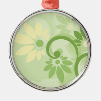Summer Green Leaf and Flowers Metal Ornament