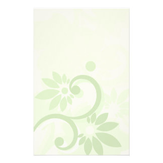 Summer Green Leaf and Flowers Stationery