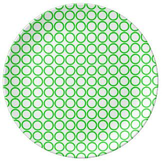 Summer Green Rings on White Dinner Plate