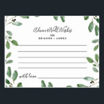 """Summer Greenery Advice and Well Wishes card<br><div class=""""desc"""">These summer greenery advice & well wishes cards are the perfect activity for an elegant wedding reception or bridal shower. The design features hand-drawn elegant eucalyptus foliage,  inspiring the positive summer atmosphere. Customize these cards to include the name of the bride and groom.</div>"""