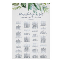 Summer Greenery Alphabetical Seating Chart