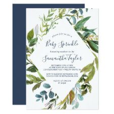 Summer Greenery Diamond Wreath Baby Sprinkle Invitation