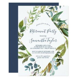 Summer Greenery Diamond Wreath Retirement Party Invitation
