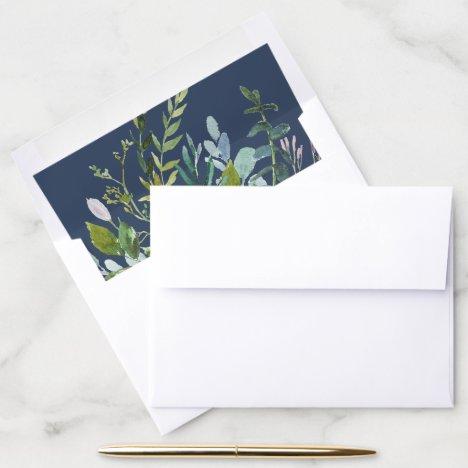 Summer Greenery Navy Envelope Liner