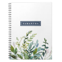 Summer Greenery Personalized Spiral Notebook
