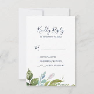 Summer Greenery Simple RSVP Card