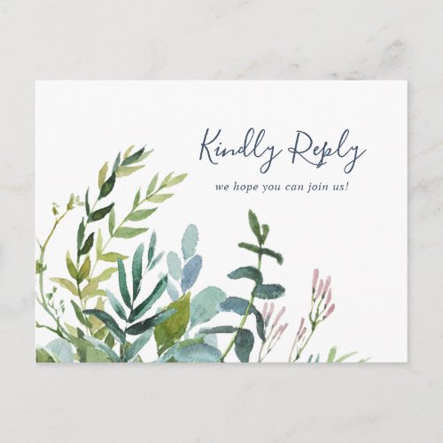 Summer Greenery Song Request RSVP Postcard