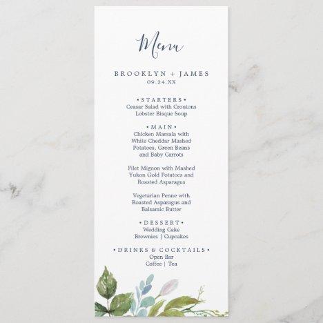 Summer Greenery Wedding Dinner Menu