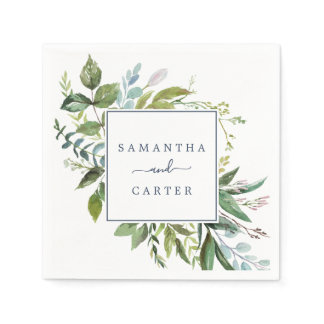 Summer Greenery Wedding Napkins