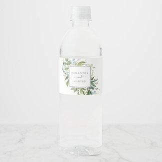 Summer Greenery Wedding Water Bottle Label