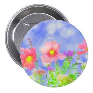 Summer Haze Wild Flowers Sunshine Landscape 3 Inch Round Button