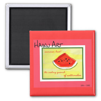 Summer Heat Haiku Art Watermelon Square Magnet