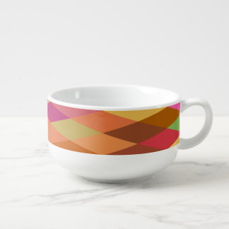 Summer Heat Harlequin Abstract Geometric Soup Bowl With Handle