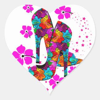 Summer High Heel Shoes Hot Pink Flowers Heart Sticker