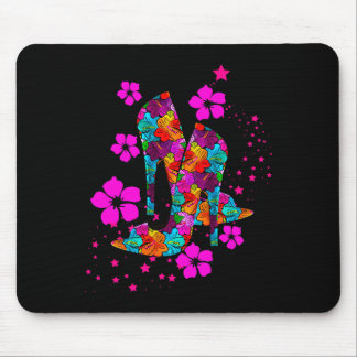Summer High Heel Shoes Hot Pink Flowers Mouse Pad