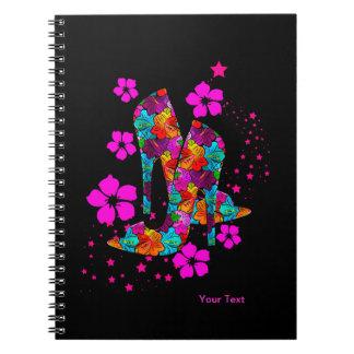 Summer High Heel Shoes Hot Pink Flowers Notebook