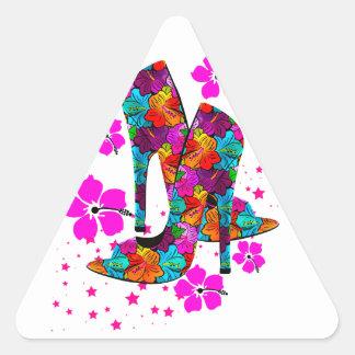 Summer High Heel Shoes Hot Pink Flowers Sticker
