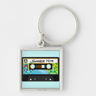 Summer Hits Tape Silver-Colored Square Keychain