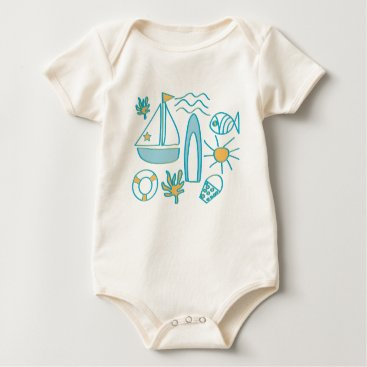Beach Themed Summer Holiday Baby Bodysuit