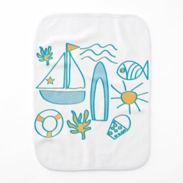 Beach Themed Summer Holiday Baby Burp Cloth