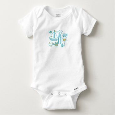 Beach Themed Summer Holiday Baby Onesie