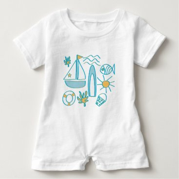 Beach Themed Summer Holiday Baby Romper