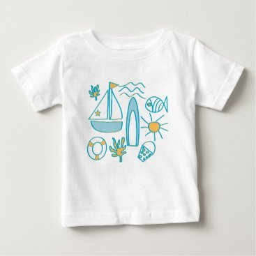 Beach Themed Summer Holiday Baby T-Shirt