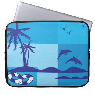 Summer Holiday Beach Palm Trees Blue Dolphins Laptop Sleeve