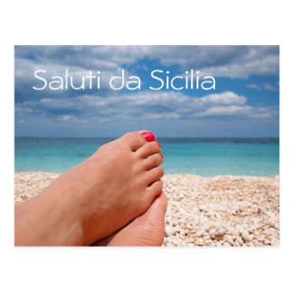 Summer holidays in Sicily text postcard