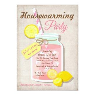 Summer Housewarming Mason Jar Lemonade Party Invitation