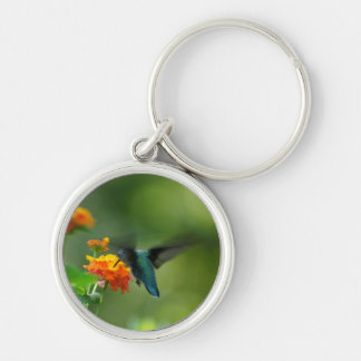 Summer Hummer Silver-Colored Round Keychain
