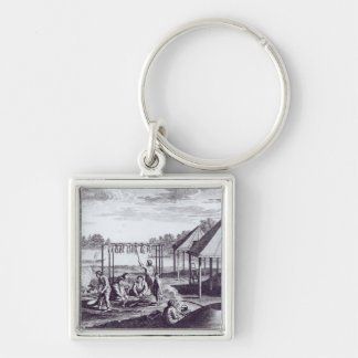 Summer Huts Silver-Colored Square Keychain