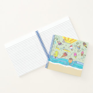 Summer ice creams custom square spiral notebook