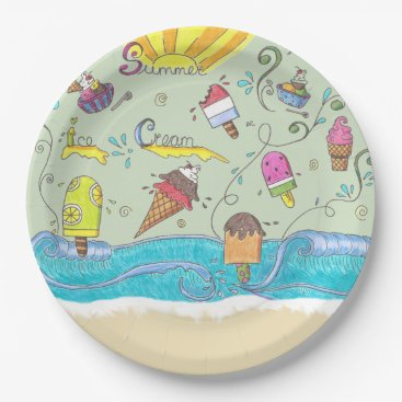 Beach Themed Summer ice creams party paper plates