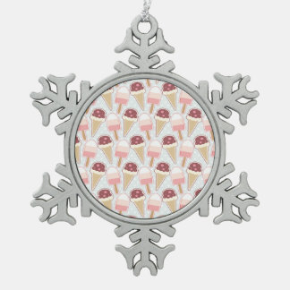 Summer Ice Creams Snowflake Pewter Christmas Ornament
