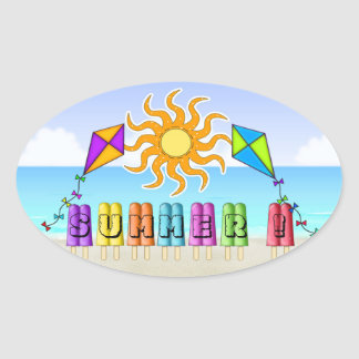 Summer - Ice Pops Oval Stickers