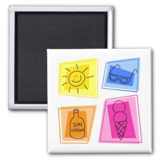 summer icons 2 inch square magnet