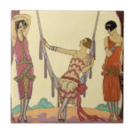 "Summer in France Art Deco Tile<br><div class=""desc"">Summer in France Art Deco tile. Georges Barbier Art Deco illustration. French illustrator Georges Barbier painted some of the most gorgeous and charming illustrations of the art deco period. Summer is one of his seasonal paintings featuring three pretty young women lounging in a park in Paris. One sits in a...</div>"