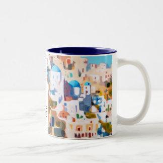 Summer in Greece Two-Tone Coffee Mug