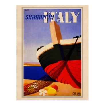 Beach Themed Summer in Italy - Retro Tourism Postcard