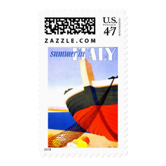 Summer in Italy Vintage Travel Postage Stamp