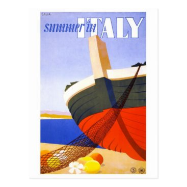 """Beach Themed """"Summer in Italy"""" Vintage Travel Poster Postcard"""