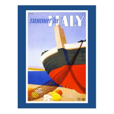 "Beach Themed ""Summer in Italy"" Vintage Travel Poster Postcard"