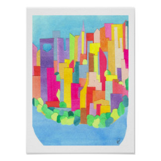Summer in Lower Manhattan Poster