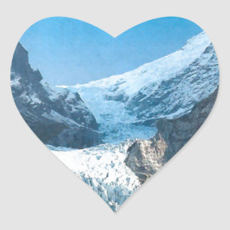 Summer in the mountains, glacier on the Jungfrau Heart Sticker
