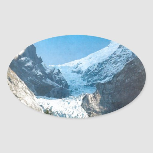 Summer in the mountains, glacier on the Jungfrau Oval Sticker