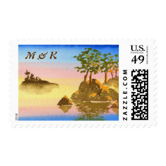 Summer Into Fall Watercolor Landscape Painting Postage Stamp