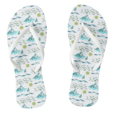 Beach Themed Summer Island Paradise Beach Sun Fish Green White Flip Flops